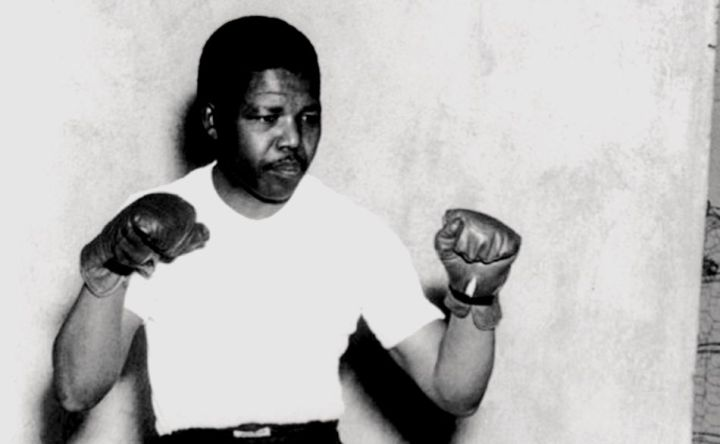 1950 (circa) Nelson Mandela, leader of the African National Congress (ANC), adopts a boxing pose-745751