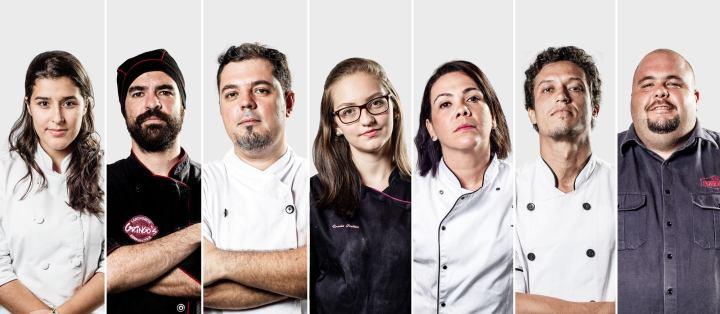 Da esquerda para a direita: Raiane Pereira (CakeZy), Danilo Sotero (Gringo's Hamburgueria), Cleiton Camargo (Tio Maneco Botequices), Úrsula Freitas (Fava de Bauninha), Danila Duarte (Dona Divina Restaurantes), Diego Coelho (Chapa Du Chef) e Rodrigo Nery (Pomodoria).
