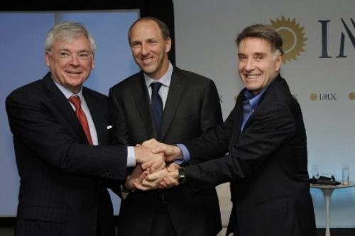 Michael Dolan, da IMG; Adam Adler antigo proprietário da Brasil 1 e agora CEO da IMX, e Eike Batista da EBX.